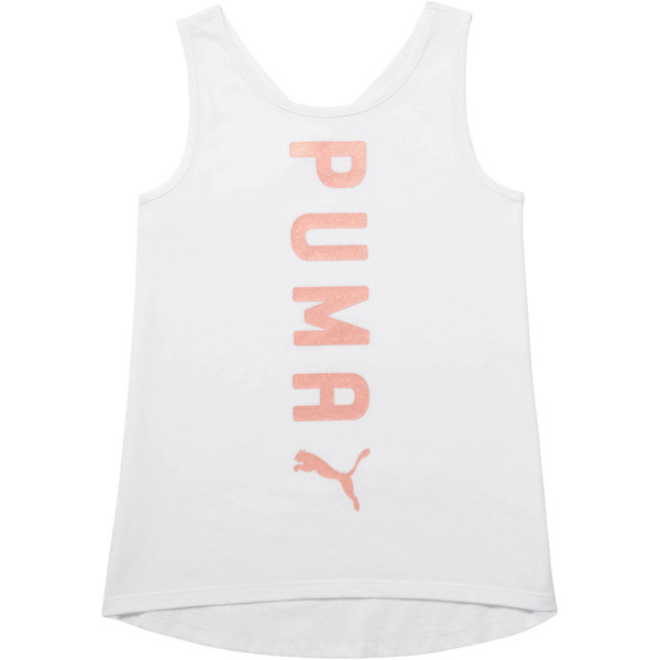 Girl's Crossover Fashion Tank JR, PUMA WHITE, large