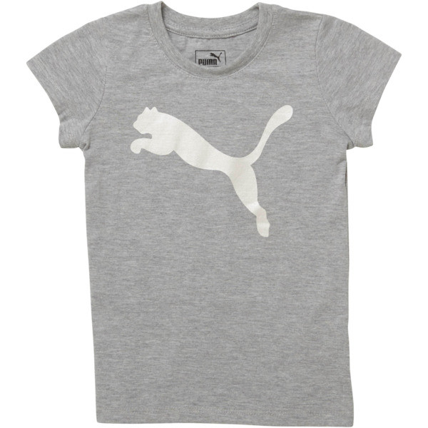 Girl's Cotton Jersey Cat Logo Tee PS, LIGHT HEATHER GREY, large