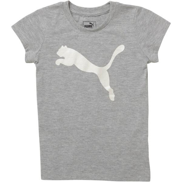 Little Kids' Cotton Jersey Cat Logo Tee, LIGHT HEATHER GREY, large