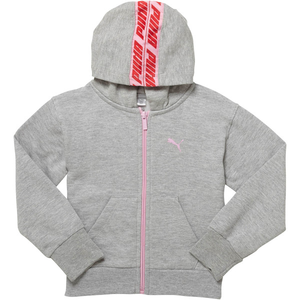 Girl's Fleece Full Zip Hoodie PS, LIGHT HEATHER GREY, large