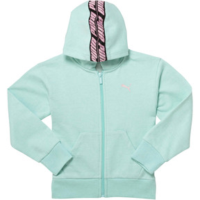 Thumbnail 1 of Girl's Fleece Full Zip Hoodie PS, FAIR AQUA, medium