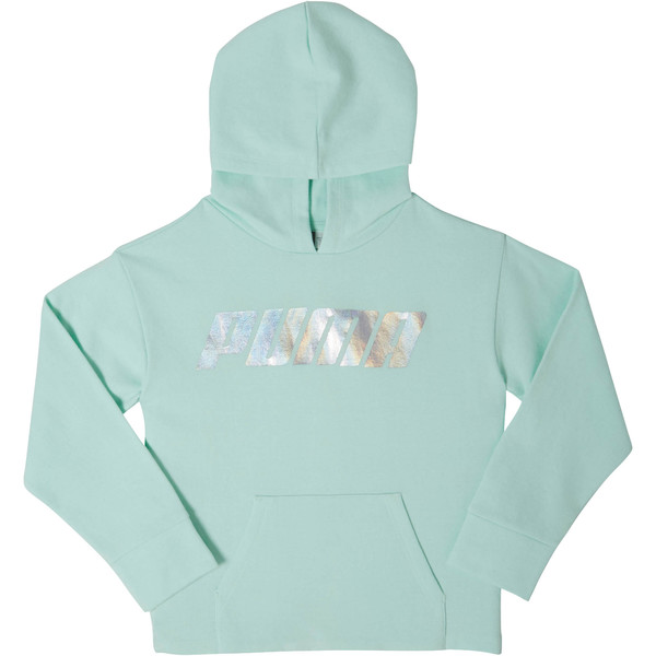 Girls' Fleece Pullover Hoodie JR, FAIR AQUA, large