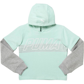 Thumbnail 1 of Girl's Fleece Hangdown Pullover PS, FAIR AQUA, medium