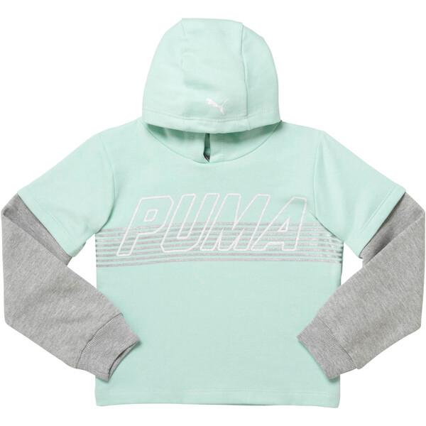 Girl's Fleece Hangdown Pullover PS, FAIR AQUA, large