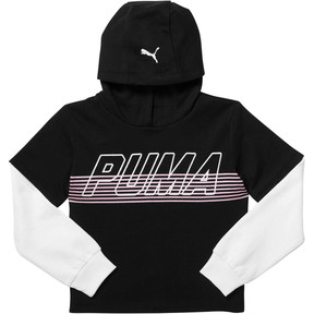 Thumbnail 1 of Girl's Fleece Hangdown Pullover JR, PUMA BLACK, medium