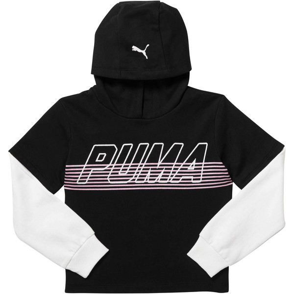 Girl's Fleece Hangdown Pullover JR, PUMA BLACK, large