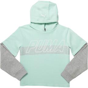 Thumbnail 1 of Girl's Fleece Hangdown Pullover JR, FAIR AQUA, medium