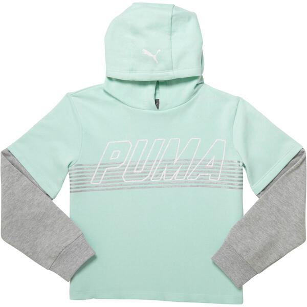 Girl's Fleece Hangdown Pullover JR, FAIR AQUA, large