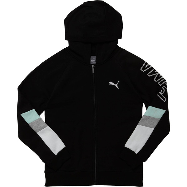 Girls' Fleece Colorblock Full Zip Hoodie JR, PUMA BLACK, large