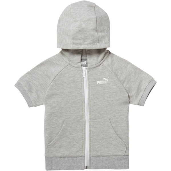 Girl's Full Zip Short Sleeve Hoodie INF, LIGHT HEATHER GREY, large