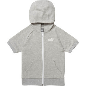 Thumbnail 1 of Girl's Full Zip Short Sleeve Hoodie PS, LIGHT HEATHER GREY, medium