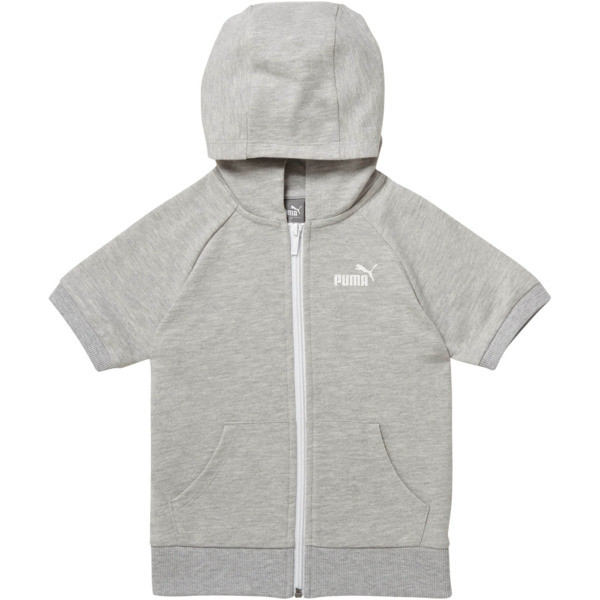 Girl's Full Zip Short Sleeve Hoodie PS, LIGHT HEATHER GREY, large