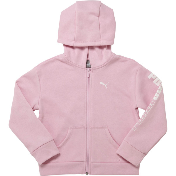 Girl's Fleece Full Zip Hoodie PS, PALE PINK, large