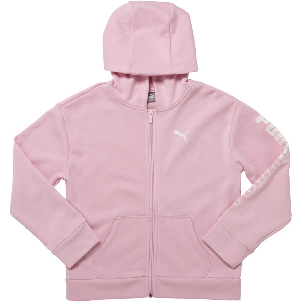 Girls' Fleece Full Zip Hoodie JR, PALE PINK, large