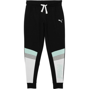 Thumbnail 1 of Girl's Color Block Fleece Jogger Pants JR, PUMA BLACK, medium