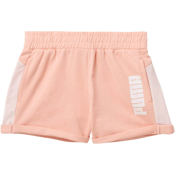 Girl's Cotton Terry Mesh Fashion Shorts PS, PEACH BUD, large