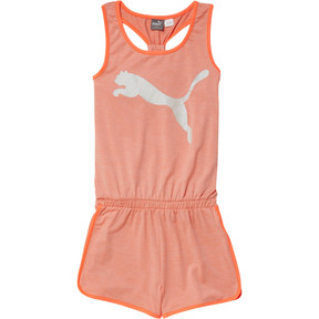 Thumbnail 1 of Girl's Fashion Romper JR, PEACH BUD HEATHER, medium