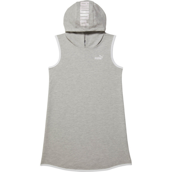 Girls' Sleeveless Hooded Dress JR, LIGHT HEATHER GREY, large