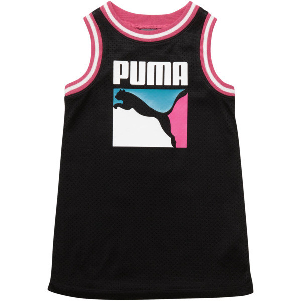 Toddler Cotton Jersey Mesh Dress, PUMA BLACK, large