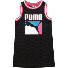 Thumbnail 1 of Girl's Cotton Jersey Mesh Dress PS, PUMA BLACK, medium