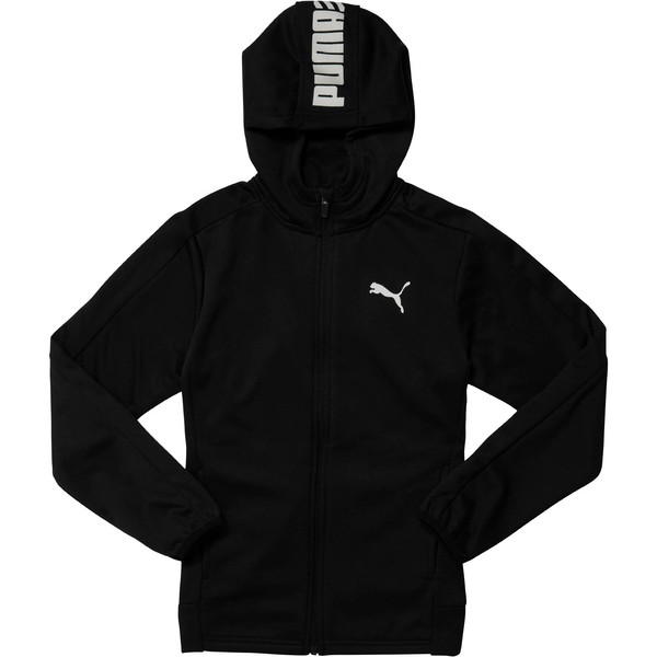 Boy's Full Zip Hoodie JR, PUMA BLACK, large