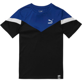 Thumbnail 1 of Boy's Color Block Tee JR, PUMA BLACK, medium