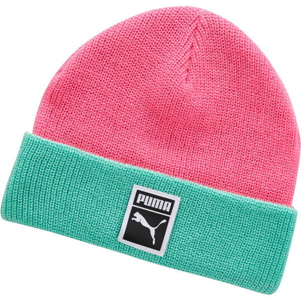 Ribbed Beanie, Pink / Green, large