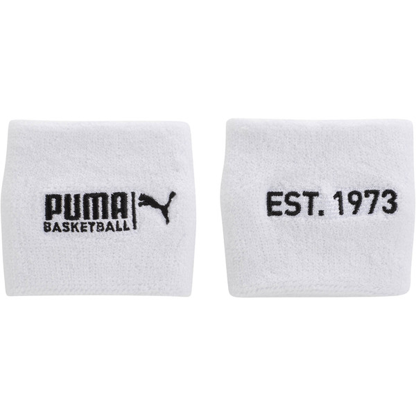 PUMA Basketball Sweat Wrist Bands, WHITE / BLACK, large