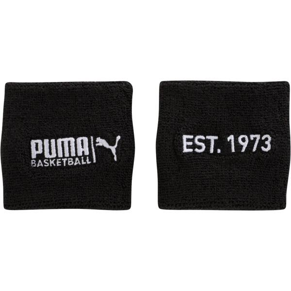 PUMA Basketball Sweat Wrist Bands, BLACK / WHITE, large