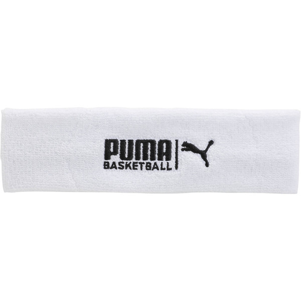 PUMA Basketball Sweat Headband, WHITE / BLACK, large