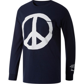Thumbnail 1 of PUMA Peace + Love x MIA x Josh Vides Men's Classic Long Sleeve Pocket T-Shirt, Navy, medium