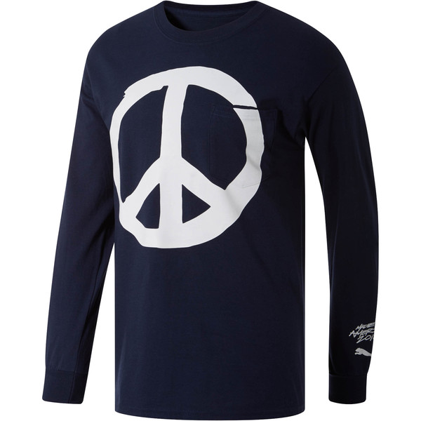 PUMA Peace + Love x MIA x Josh Vides Men's Classic Long Sleeve Pocket T-Shirt, Navy, large