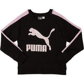 Thumbnail 1 of Girl's Fleece Crew Pullover PS, PUMA BLACK, medium