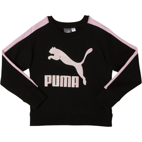 Girl's Fleece Crew Pullover PS, PUMA BLACK, large