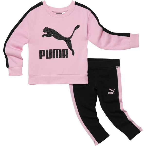 Girl's Cotton Fleece Crew Pullover + Cotton Spandex Leggings Set INF, PALE PINK, large