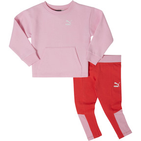 Thumbnail 1 of Girl's Fleece Crew Pullover + Cotton Spandex Leggings Set INF, PALE PINK, medium