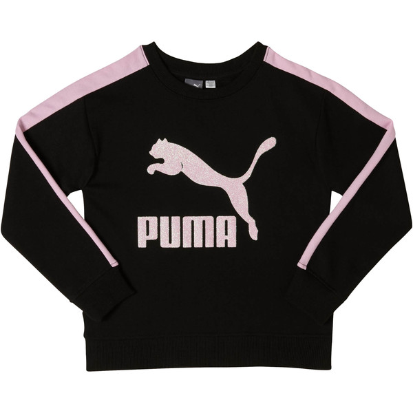 Girls' Fleece Crew Pullover JR, PUMA BLACK, large