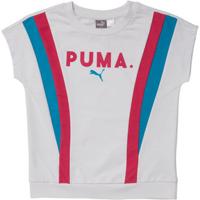 Thumbnail 1 of Girl's Color Block Short Sleeve Pullover JR, PUMA WHITE, medium