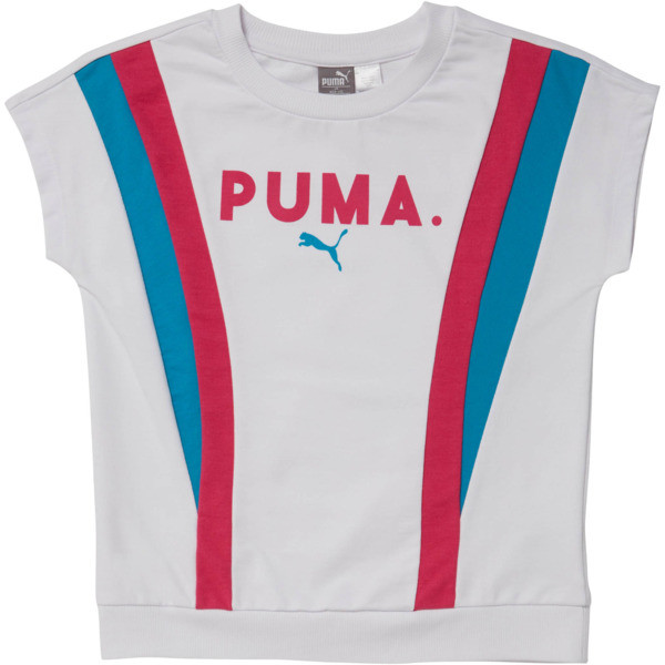 Girl's Color Block Short Sleeve Pullover JR, PUMA WHITE, large