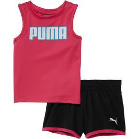 Thumbnail 1 of Girl's Mesh Fashion Tank + Shorts Set INF, FUCHSIA PURPLE, medium