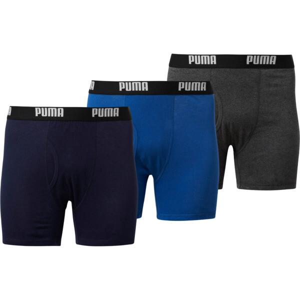 Men's Cotton Classic Boxer Briefs [3 Pack], BLUE / GREY, large