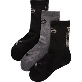Thumbnail 1 of Boys' 1/2 Terry Crew Socks [3 Pack], BLACK / GREY, medium