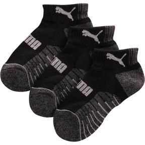 Thumbnail 1 of Boys' Extended Terry Quarter Crew Socks [3 Pack], BLACK COMBO, medium