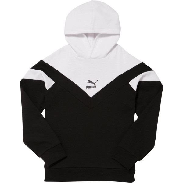 MCS Pack Boys' Colorblocked Hoodie JR, PUMA BLACK/WHITE, large