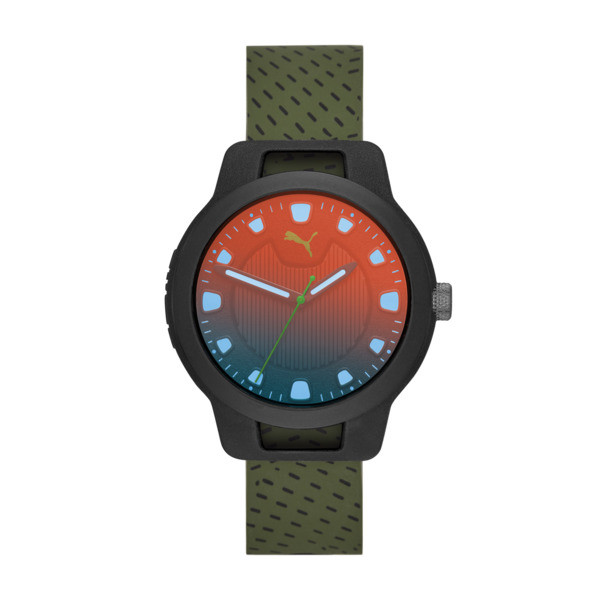 Reset Silicone V1 Men's Watch, Black/Green, large