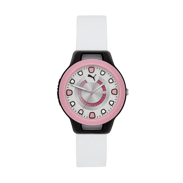 Reset Silicone Women's Watch, Black/White, large