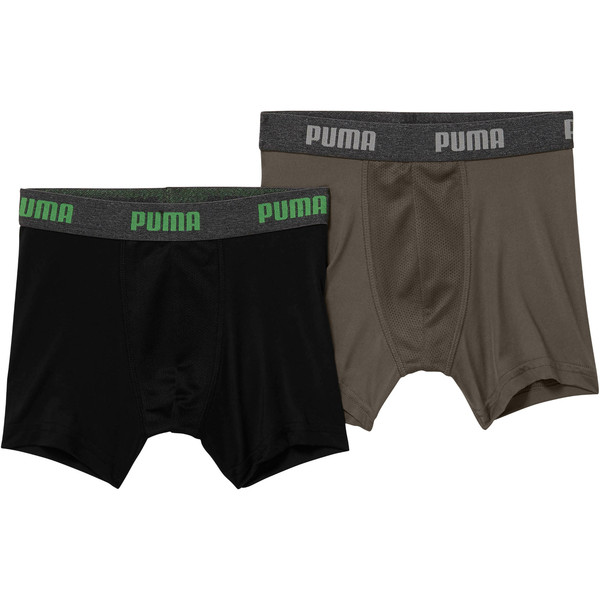 Boy's Performance Tech Boxer Briefs [2 Pack], BLACK / GREEN, large