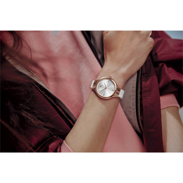 Contour White Watch, Rose gold/White, large